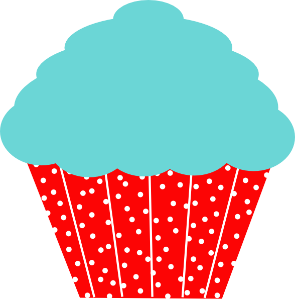 Clipart tree cupcake. Cherry red and aqua