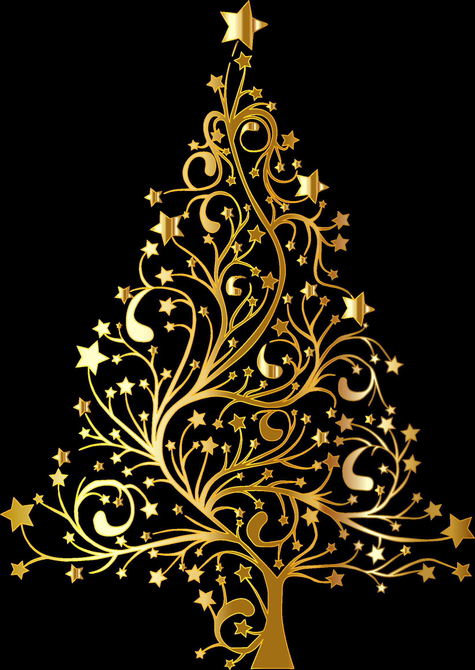 Flourish clipart christmas. Starry tree gold no