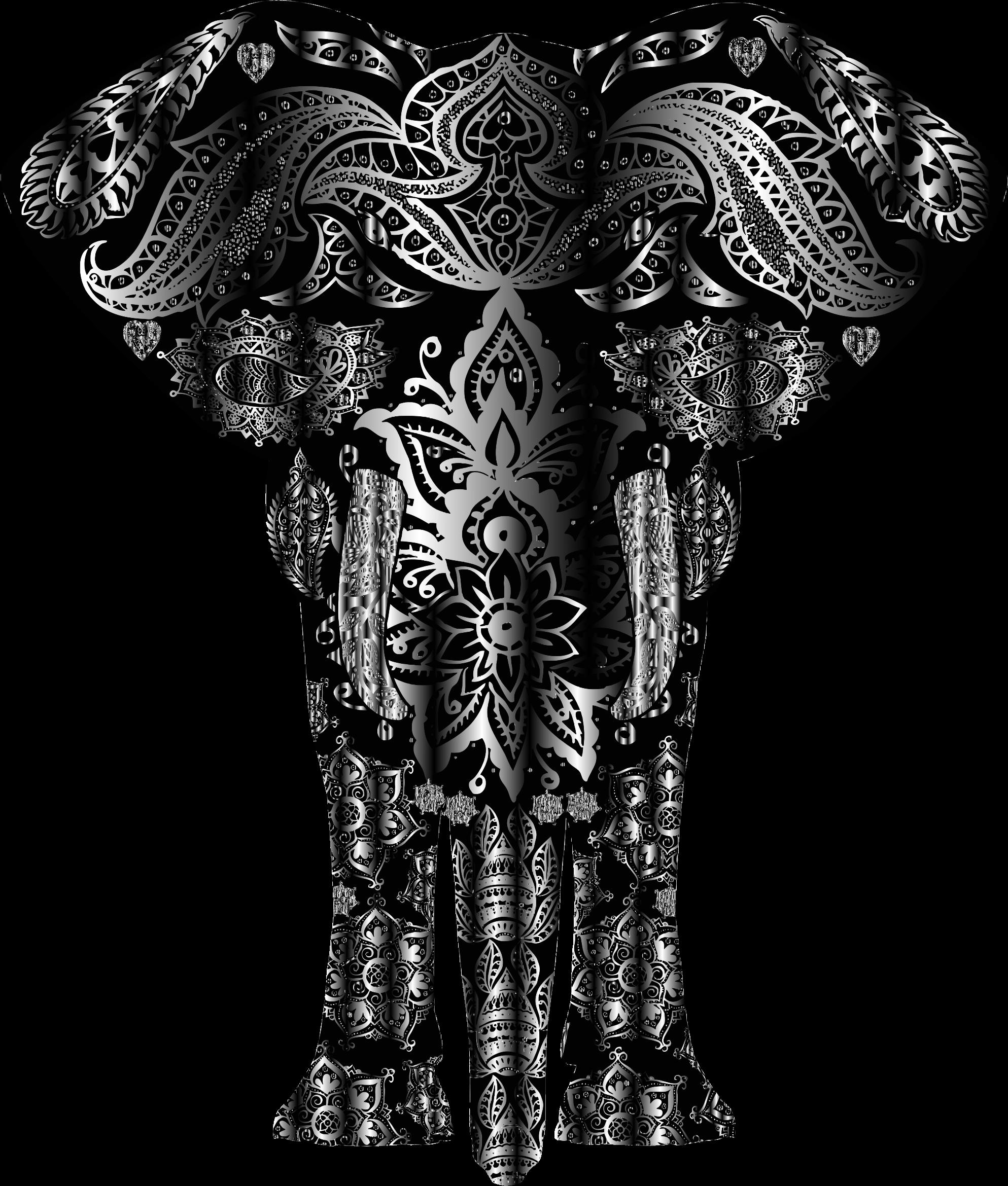 Metallic floral pattern big. Elephant clipart tree