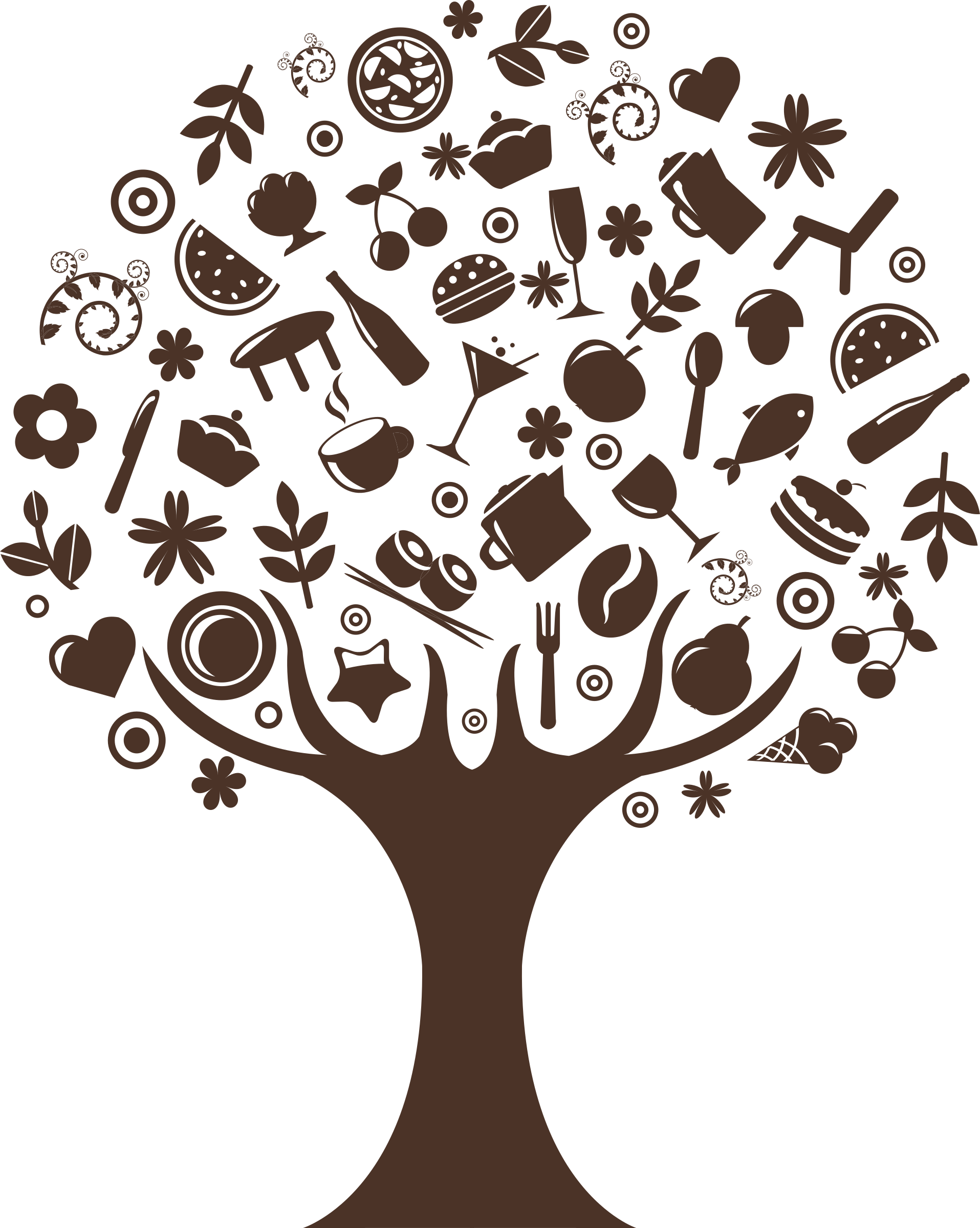 Cliparts making the web. Food clipart tree