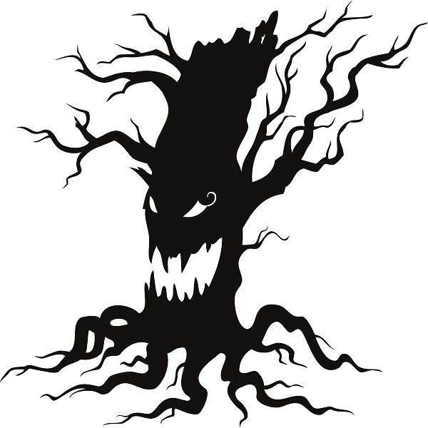 Clipart tree halloween. Free clip art black