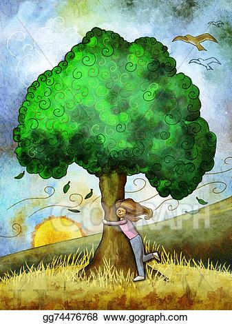 Stock illustration gg gograph. Hugging clipart hug tree