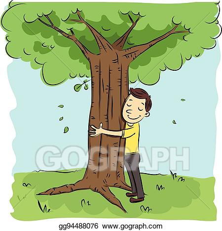 Hugging clipart hug tree. Vector art man drawing