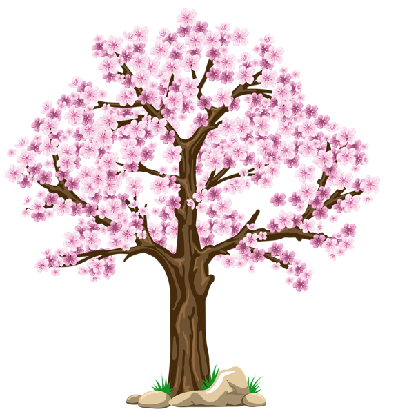 Transparent pink png picture. Poetry clipart tree flower