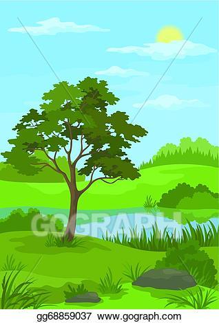 Vector stock landscape pine. Clipart tree lake