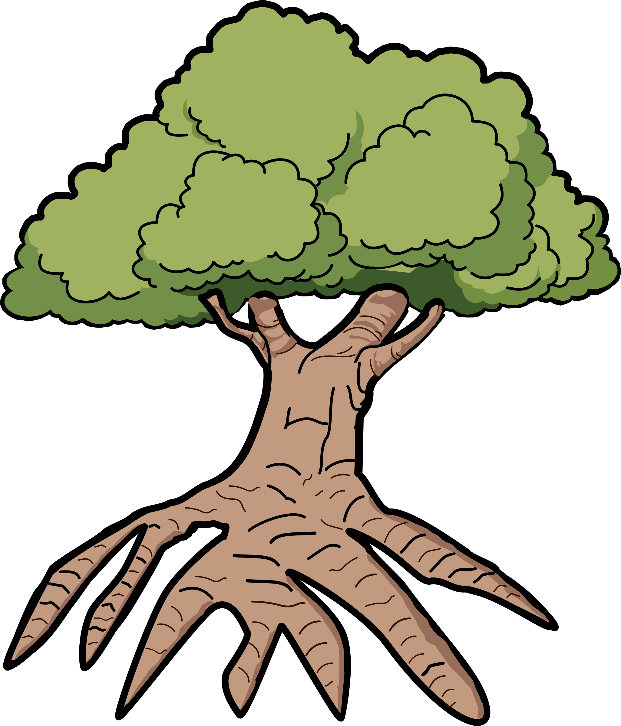 Clipart trees line art. Tree silhouette roots at