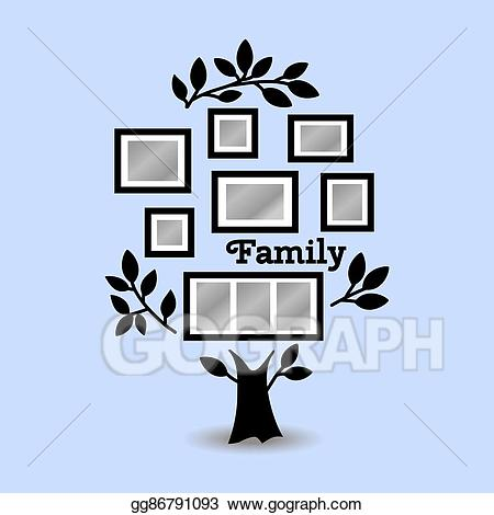 Vector art with frames. Memories clipart tree