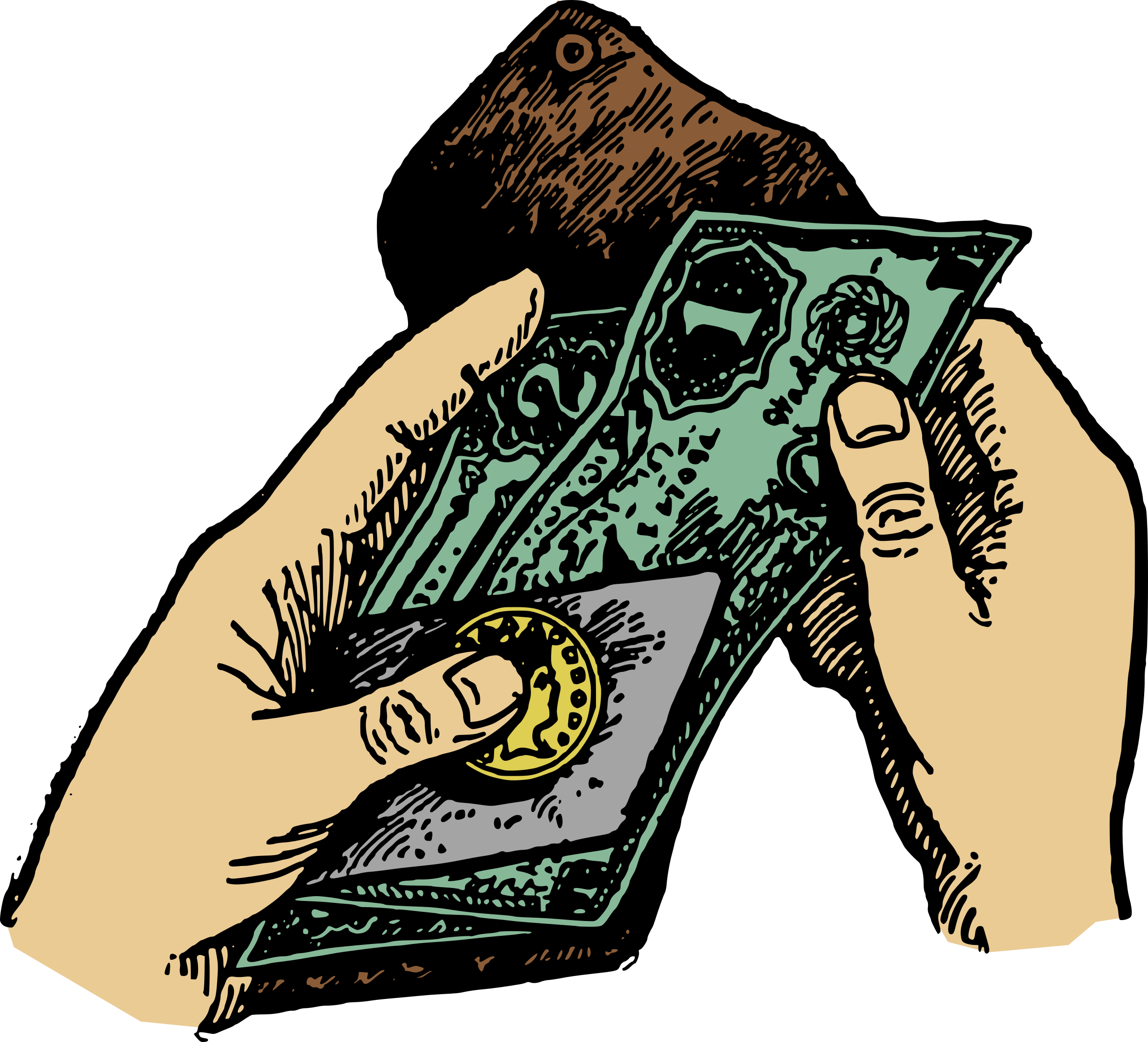 Hands and money icons. Wallet clipart hand