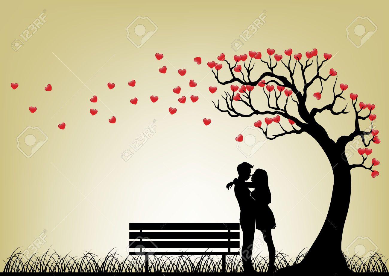 Stock vector figures in. Tree clipart romantic