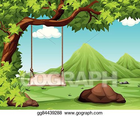 Vector art nature with. Tree clipart scene