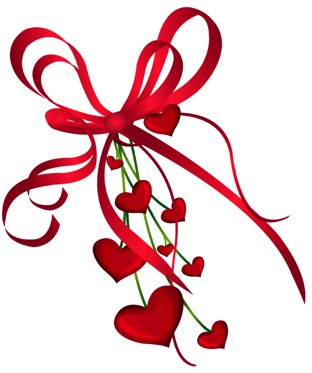 Clipart trees valentines day. Hearts decor with red