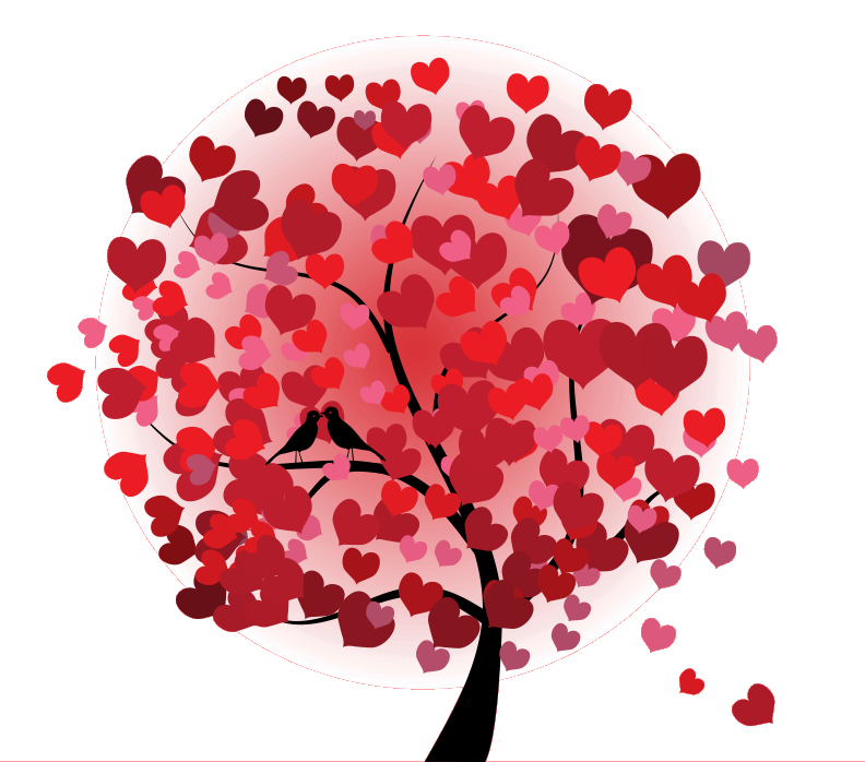 Arvore cora ao png. Tree clipart valentines day
