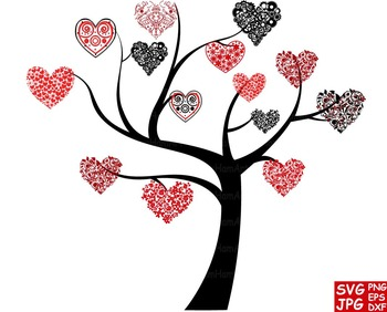Heart silhouette floral svg. Clipart tree valentines day