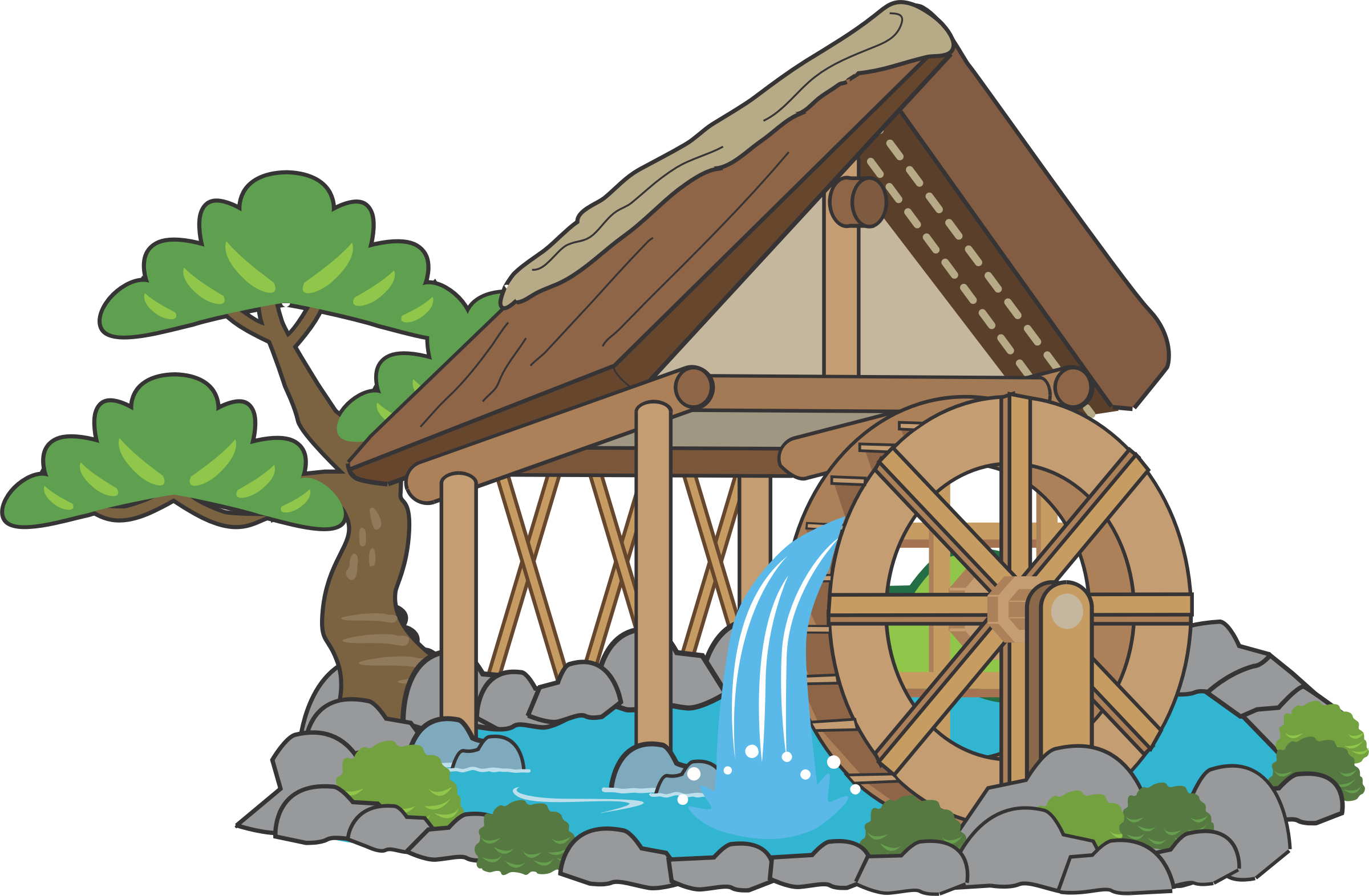 Japanese clipart hut. Waterwheel big image png