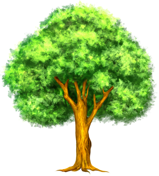 Painted tree art pinterest. Woodland clipart green fern