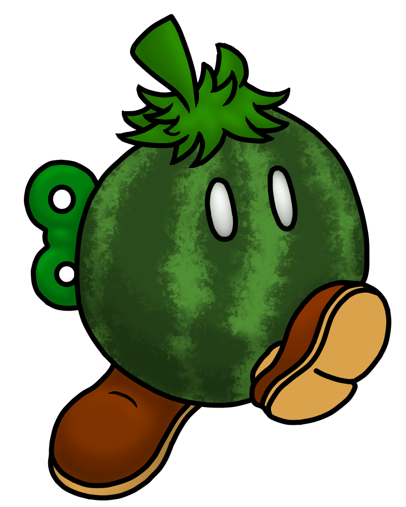 Colored bob omb by. Watermelon clipart tree