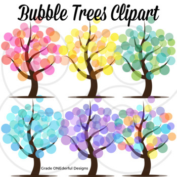 Clipart trees abstract. Tree seasons bubble by