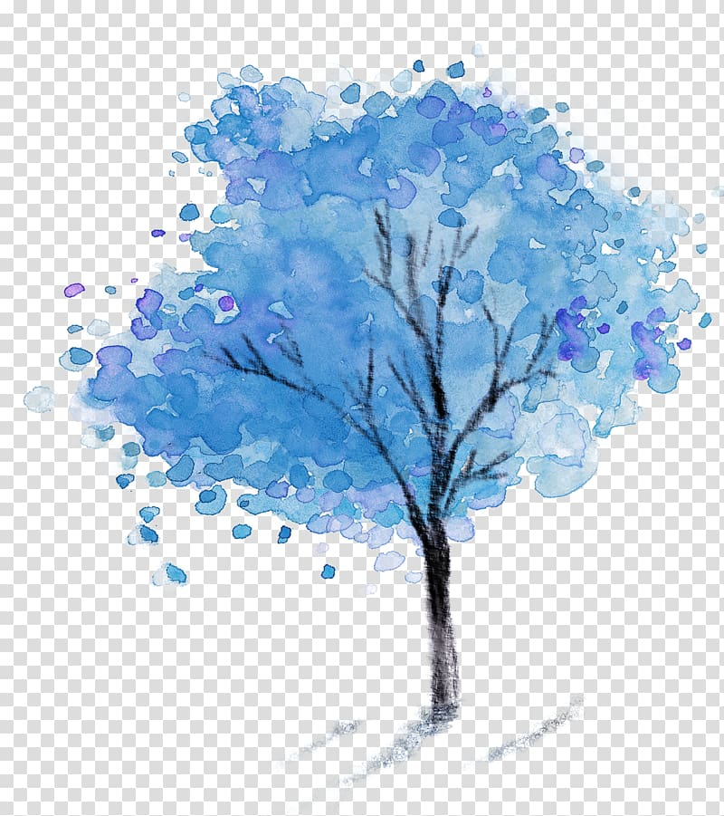 And black tree painting. Clipart trees blue