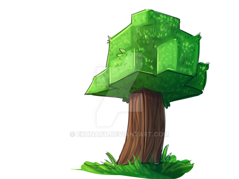 Tree doodle by exunary. Diamond clipart drawn