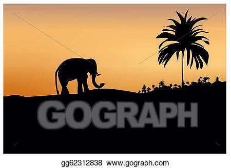 Vector illustration dark silhouette. Clipart trees elephant