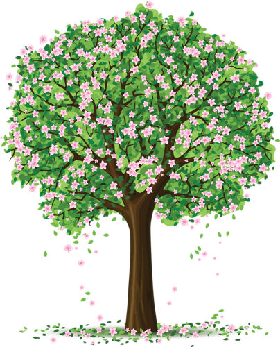 Spring trees and flowers. Tree clipart garden