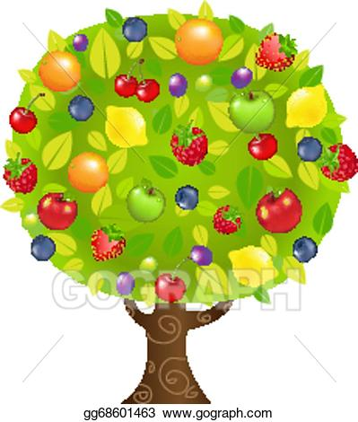 Vector art tree drawing. Clipart trees fruit