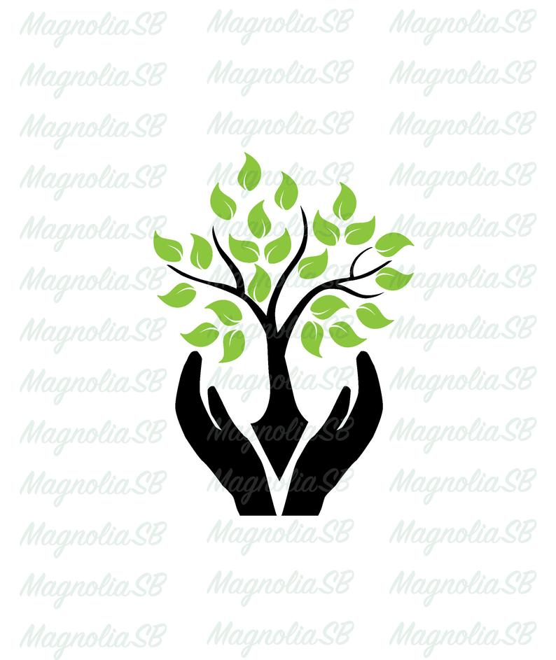 Svg dxf hands protecting. Tree clipart hand holding