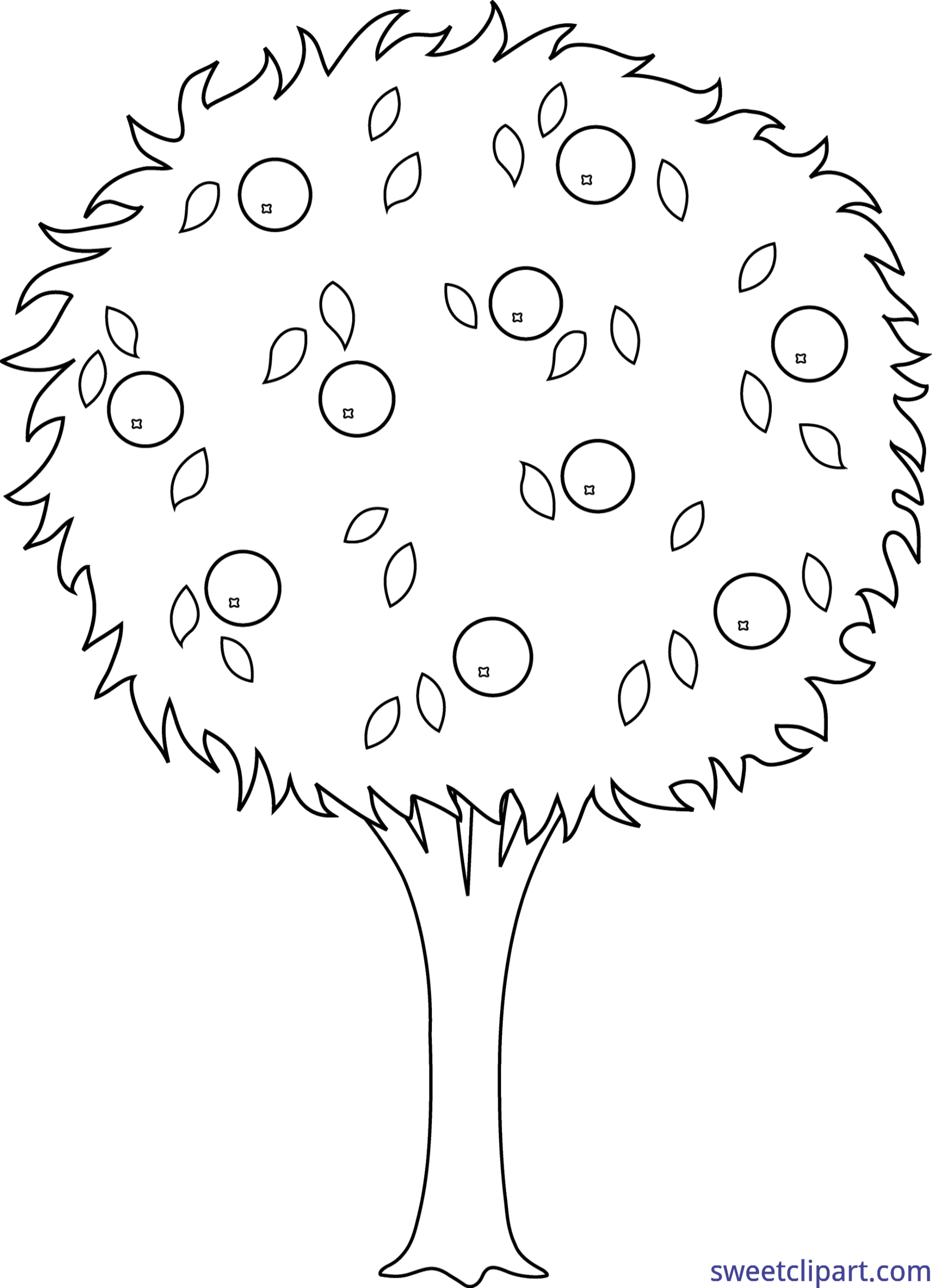 Orange tree lineart clip. Clipart trees line art