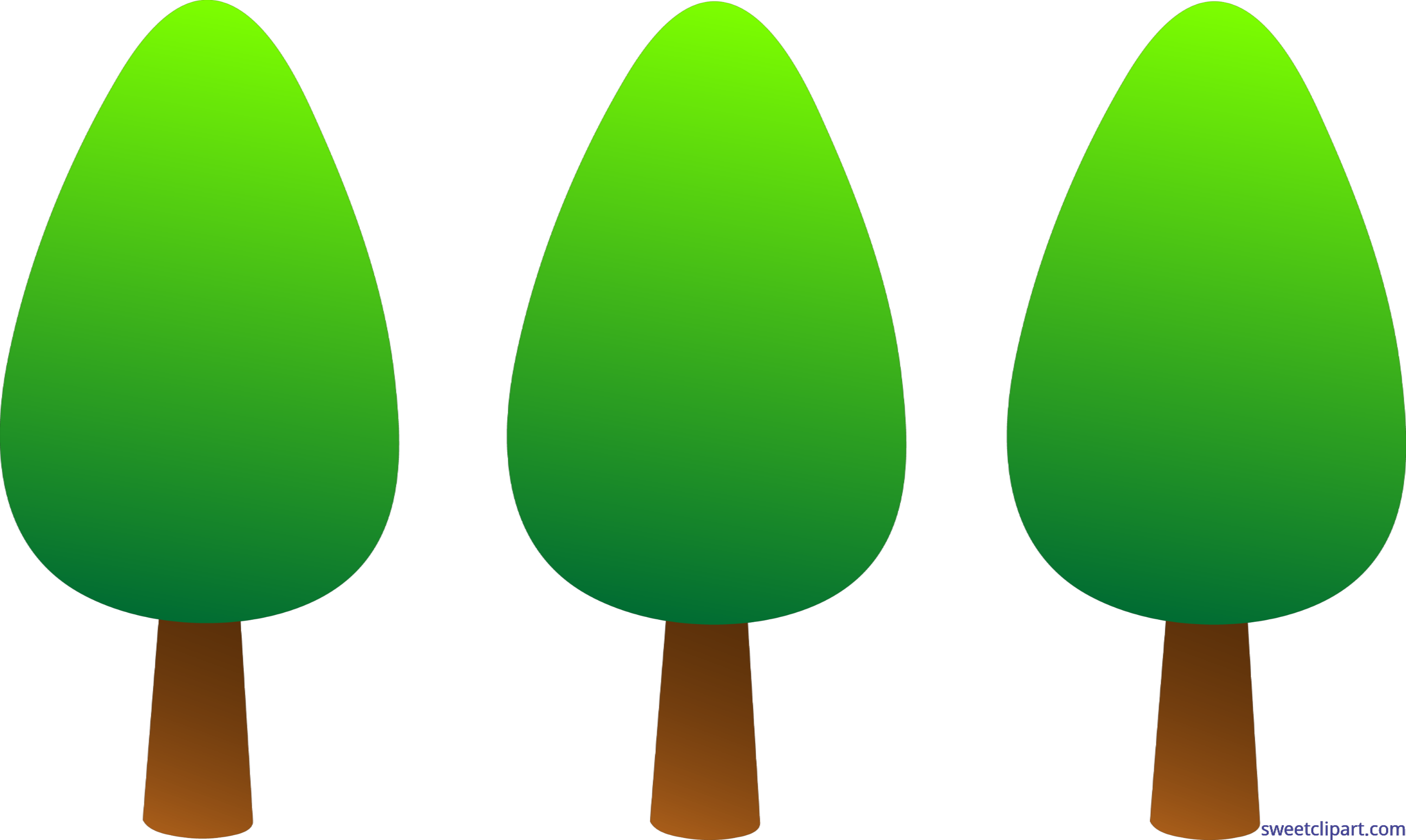 Clipart trees number. Nature simple set clip
