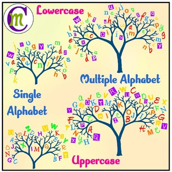 Alphabet . Clipart trees number
