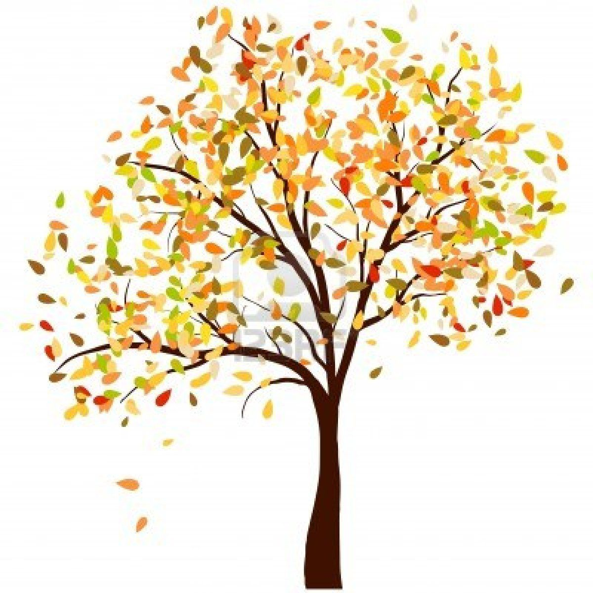 Autumn and leaves background. Clipart trees october