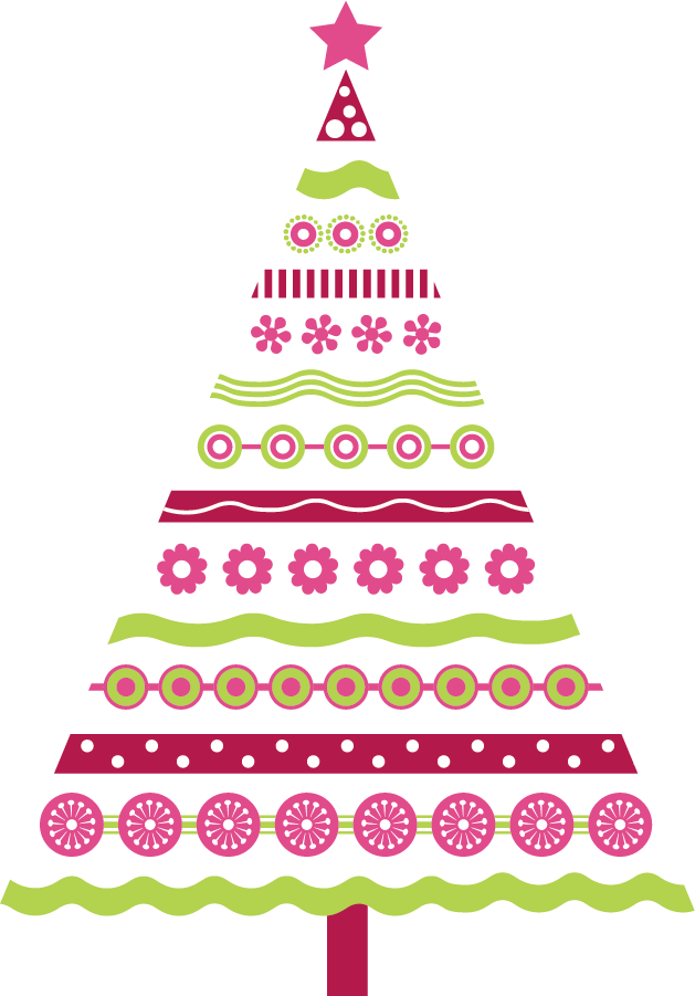 Pink christmas decoration and. Clipart trees pencil