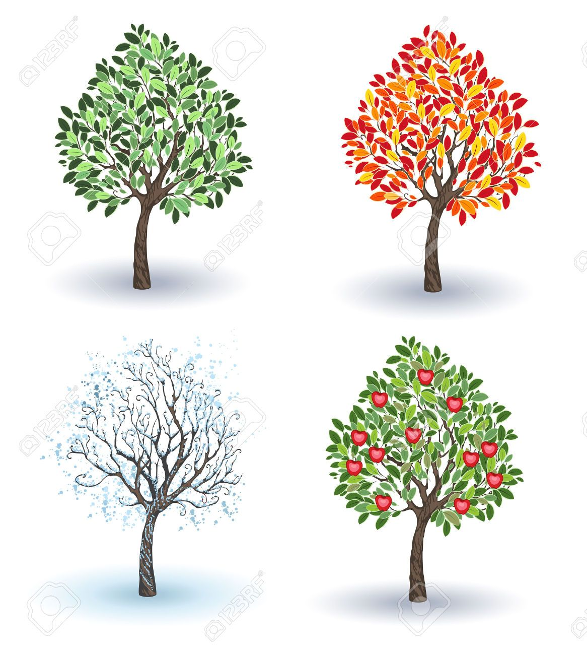 Stock vector pencil sketching. Winter clipart apple tree