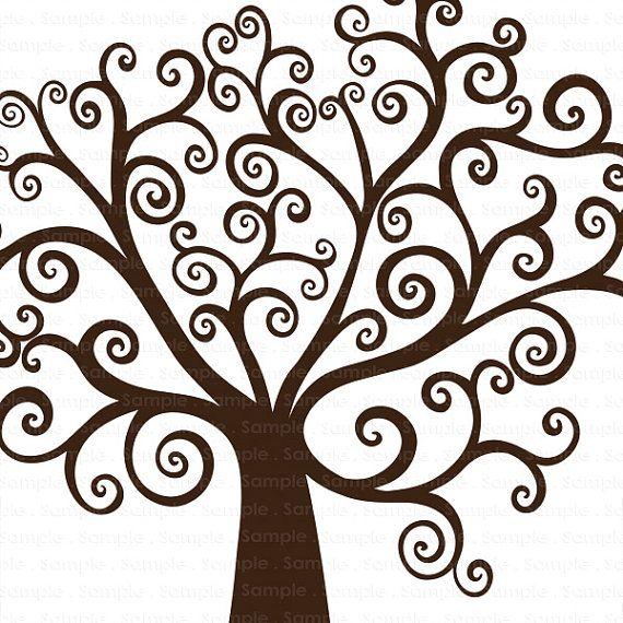 Tree diy family clip. Clipart trees swirl