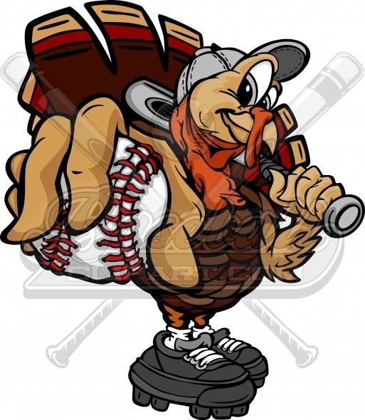 Thanksgiving vector image . Clipart turkey baseball
