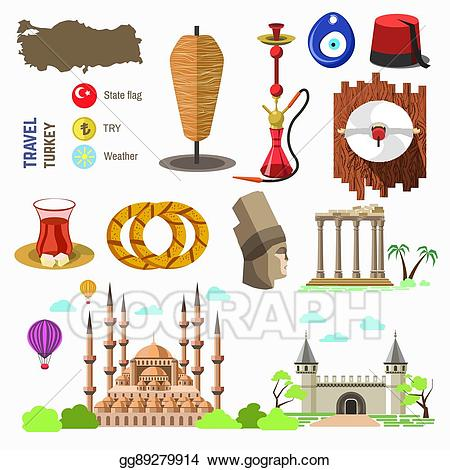 Clipart turkey country. Vector illustration culture and