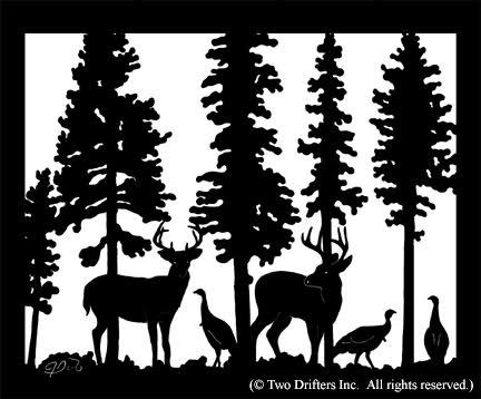 Hunting wild silhouette animalgals. Clipart turkey deer