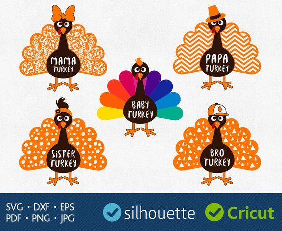 Clipart turkey family. Svg files download thanksgiving