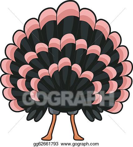 Clipart turkey illustration. Eps back view vector