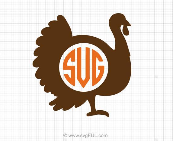 Turkey thanksgiving svg . Turkeys clipart monogram