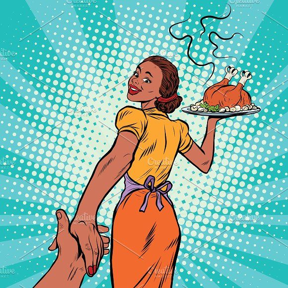 Clipart turkey pop art. Housewife with roast by