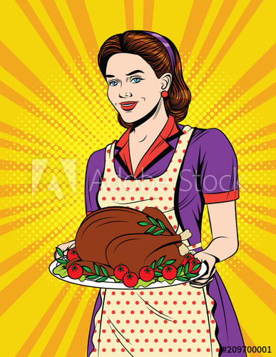 Vector colorful comic style. Clipart turkey pop art