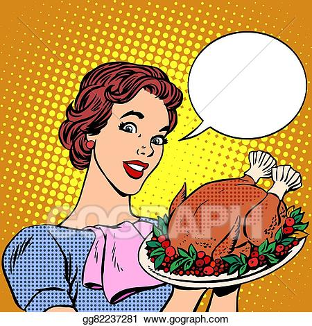 Vector illustration woman with. Clipart turkey pop art