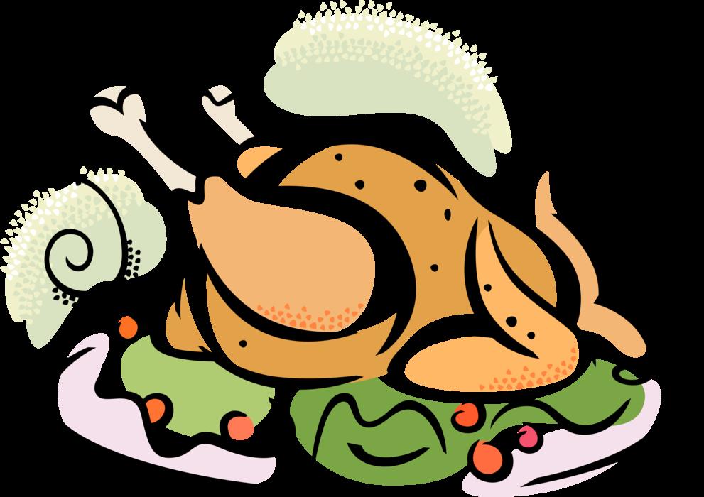 Clipart turkey roasted turkey. Roast dinner vector image