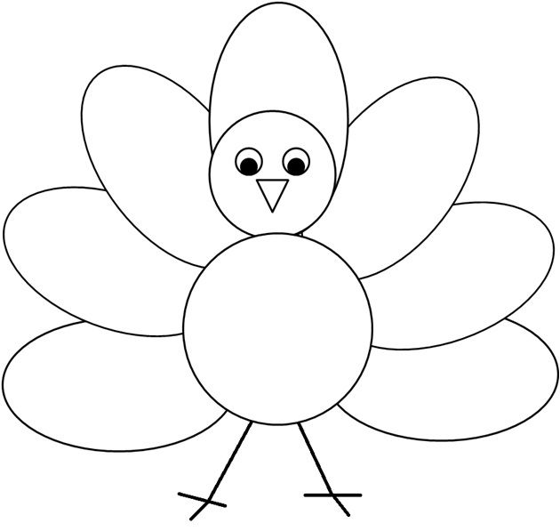 Clipart turkey template. Coloring or decorating the