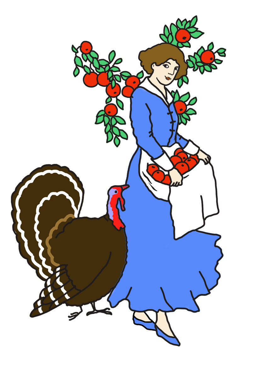 Clipart turkey turkey breast. Happy thanksgiving woman with