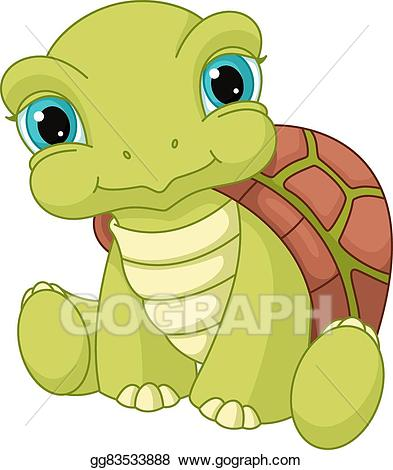 Clipart turtle baby turtle. Vector stock illustration gg