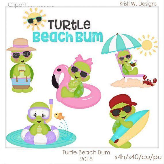 Digital scrapbooking bum . Clipart turtle beach