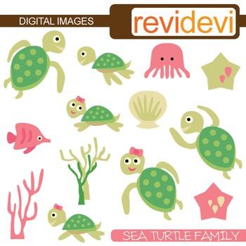 Sea . Clipart turtle family