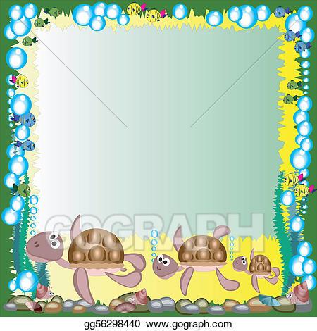 Eps illustration sea vector. Clipart turtle frame